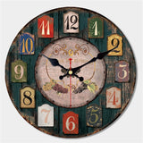 "Large Rustic Wood Wall Clock, 16"", Worn Deep Green"