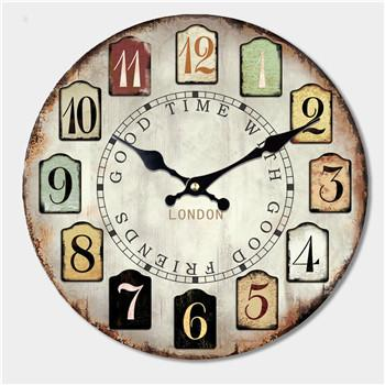 Large Rustic Wood Wall Clock, 16""