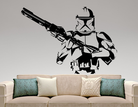 Large Star Wars Stormtrooper with Blaster Gun Wall Decal