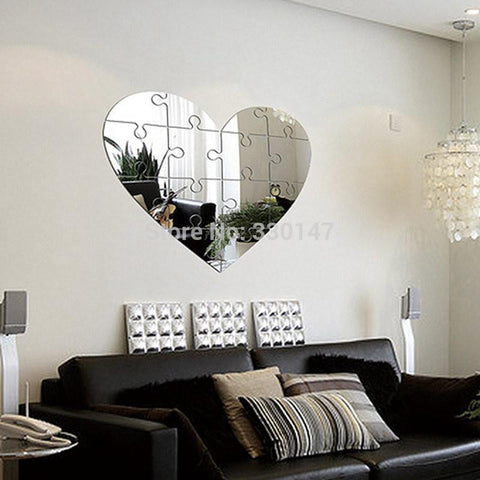 Large Unique Wall Mirror, Heart Shaped Puzzle Pieces