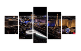 Las Vegas Skyline at Night Art Piece, 5 Panel Set