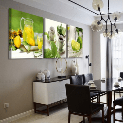 Lemon Lime Wall Art Canvas Prints For Kitchen