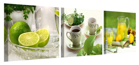 Lemon Lime Tea Party, 3 Panel Kitchen Wall Art