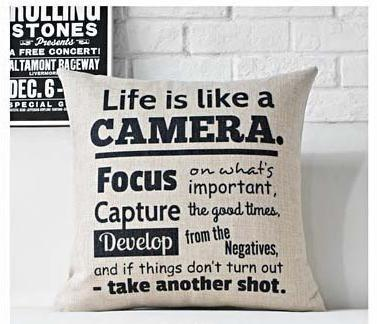 Life Quote Camera Throw Pillow