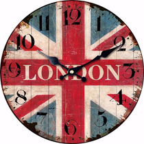 London Flag, Oversized Rustic Wooden Wall Clock, Round