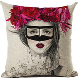 Magenta and Mask Sexy Girl Throw Pillows