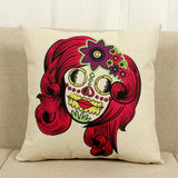 Mexican Sugar Skull Accent Pillows Cushion Cover