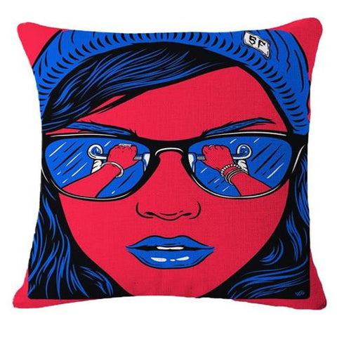 Middle Finger and Gold Grill Pop Animation Art Throw Pillows, Roy Lichtenstein
