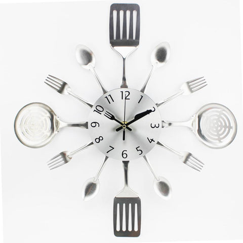 Modern Cutlery Kitchen Utensils Wall Clock