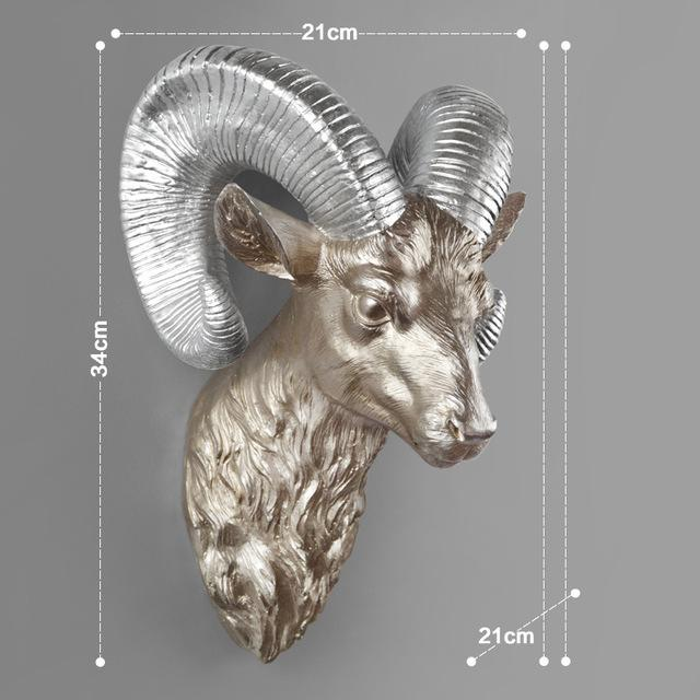 Modern Elk Head Wall Decoration, Bronze and Silver