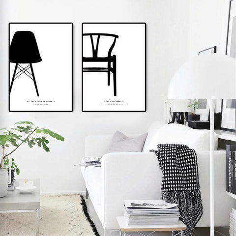 Modern Nordic Black and White Home Decor Canvas Prints