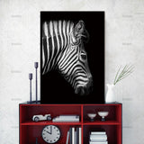Modern Nordic Style Zebra  Canvas Print Black and White