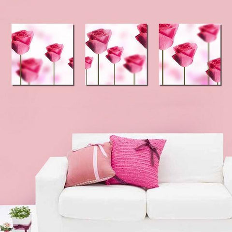 Modern Pink Roses Painting Set, 3 Pc