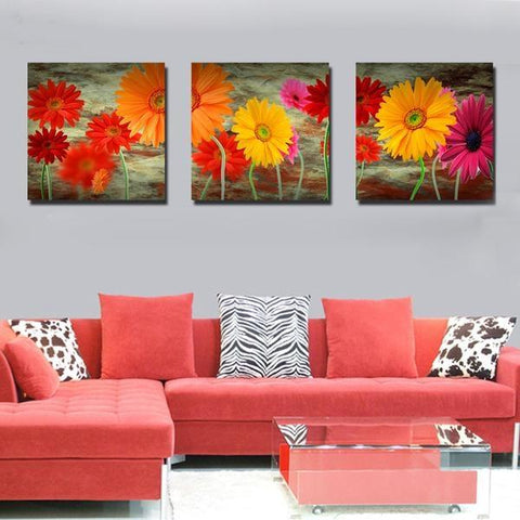 Modern Red, Orange and Pink Daisies Floral Painting Set, 3 Pc