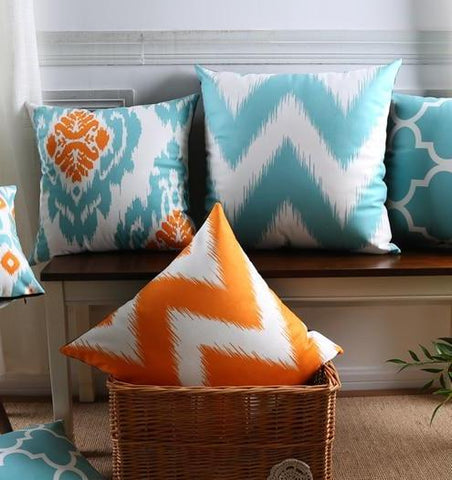 Moroccan Turquoise and Orange, Coral Cushions Covers
