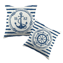 Nautical, Sailor Theme, Navy and White Striped Throw Pillow Cover, 2 styles