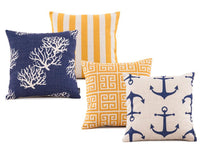 Nautical Themed Blue and Yellow Throw Pillows, Anchor and Coral Patterns
