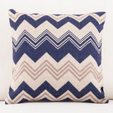 Navy and Tan Chevron Patterned Accent Pillows
