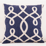 Navy Blue with White Coral Design Throw Pillow Covers