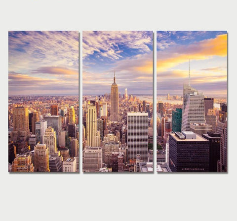 New York City Canvas Painting, 3 Piece Large Modern Wall Art Set