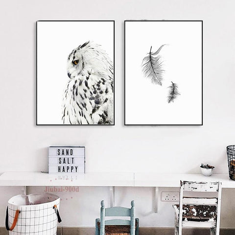 Nordic Elegant Snow Owl and Feather Canvas Print Set