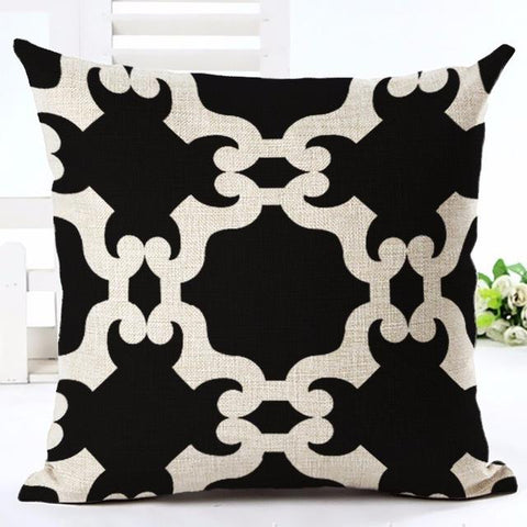 Nordic Style Black and White Medallion Throw Pillow