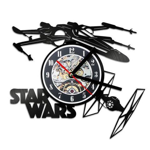 Novelty Star Wars Clock, X-wing Tie Fighter with Optional Changing Color LED Lights