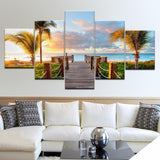 Ocean, Sunset Artwork, 5 Pieces