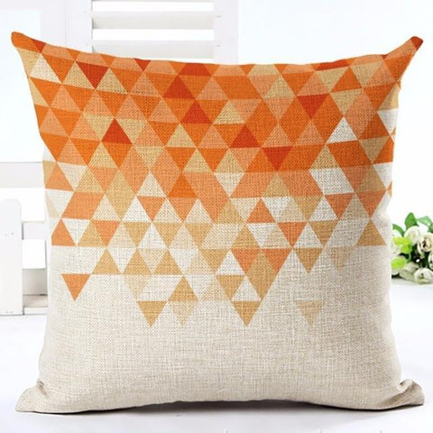 Orange Geometric Retro Throw Pillow