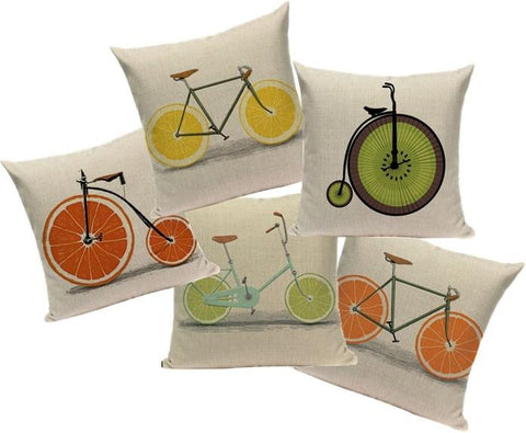 Orange, Lemon & Lime Bicycle Decorative Cushion Covers