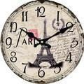 Oversized Paris Theme Wooden Wall Clock, Round