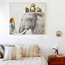 Parrots on Elephant Jungle Wall Art