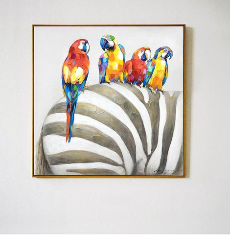 Parrots on Zebra Jungle Wall Art
