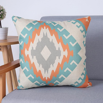 Peach and Turquoise New Geometric Pattern Throw Pillows