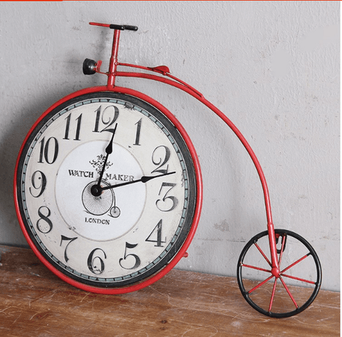 Penny Farthing Bicycle Wall Clock, Red
