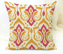 Pink and Orange Embroider Pattern Throw Cushion Cover