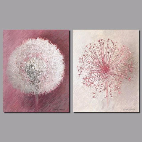 Pink Dandelion Paintings, 2 Piece Art Set