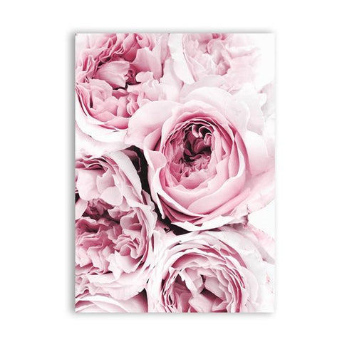 Pink Floral Peony Scandi Canvas Painting Wall Art