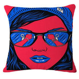 Pretty Mouth Eating Strawberry, Pop Animation Art Throw Pillows, Roy Lichtenstein