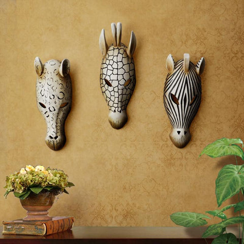 Primitive African Style Animals Mask Wall Hanging