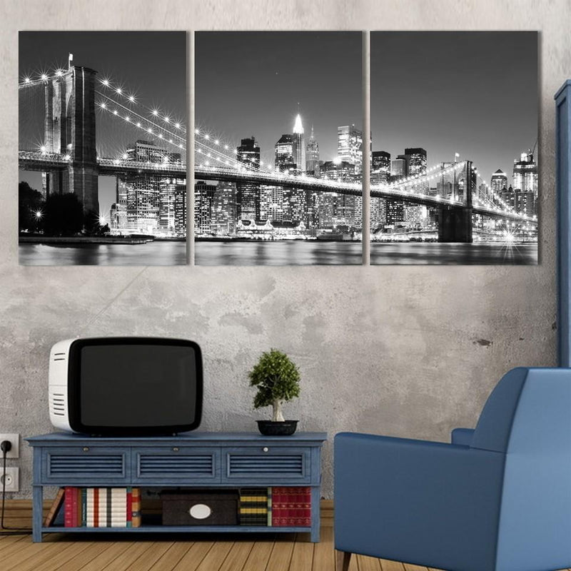 Brooklyn Bridge at Night Art for Wall, 3 Piece New York Skyline Canvas Set
