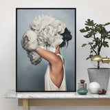 Fashion Models with Feather and Floral Headdresses Oil Painting Canvas Prints