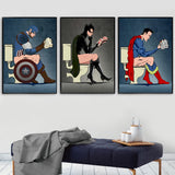 Superhero Bathroom Wall Pictures, Batman & Batwoman on Toilet Wall Art