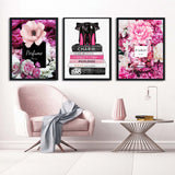Pink Fashion Canvas Prints Wall Art, Perfume, Stilettos, Flowers - Girl's Room Decor
