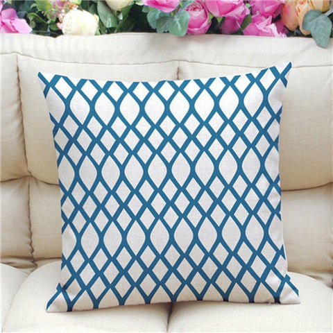 Geometric Pattern Accent Cushion Cover, Blue/White
