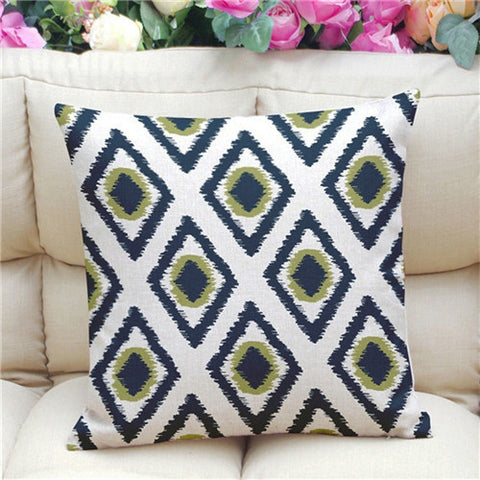 Geometric Pattern Accent Cushion Cover, Green Eye