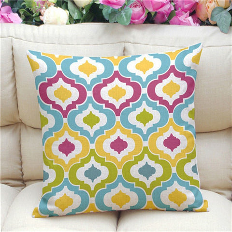 Geometric Pattern Accent Cushion Cover, Multi-color