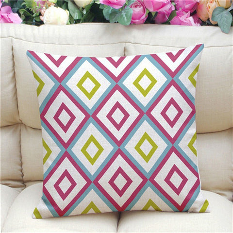 Geometric Pattern Accent Cushion Cover, Pink/Blue/Green