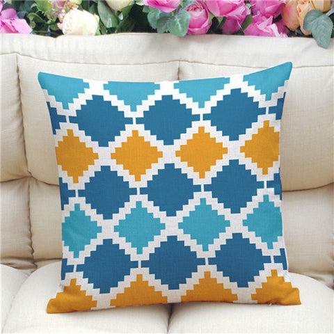 Geometric Pattern Accent Cushion Cover, Blue/Orange