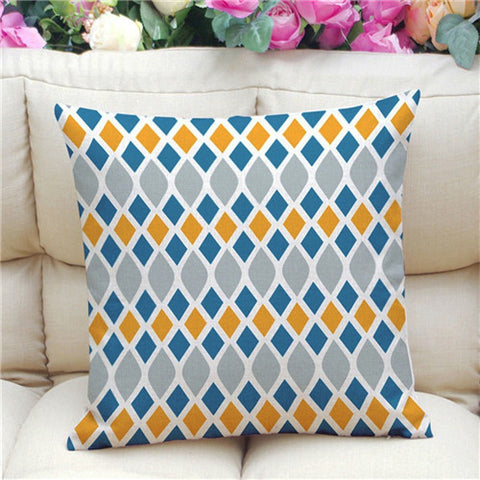 Geometric Pattern Accent Cushion Cover, Grey/Blue/Orange
